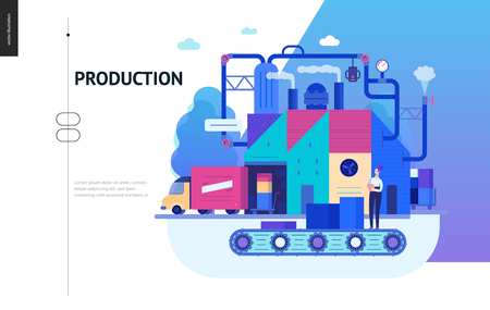 Business series, color 2 - factory production -modern flat vector illustration concept of industrial enterprise. Manufacturing and production interaction process. Creative landing page design template Ilustração