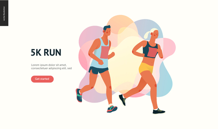 Marathon race group - flat modern vector concept illustration of running men and women wearing sportswer. Marathon race, 5k run, sprint. Creative landing page design template, web banner Illustration