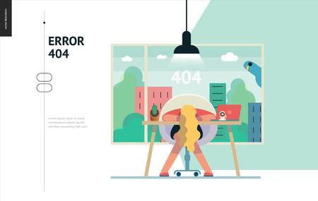 비즈니스 시리즈, 색상 1- 오류 404-페이지 오류 404의 현대 평면 벡터 개념 그림. 사무실 테이블에 누워 지친 된 여자 페이지를 찾을 수 없습니다. 크리 에이 티브 방문 페이지 디자인 서식 파일