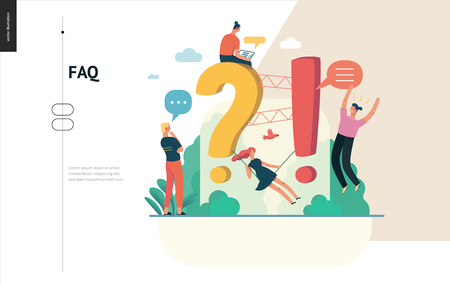 Business, color 1- FAQ -modern flat vector concept illustration of Frequently asked questions People around exclamation and question marks Question answer metaphor Creative web page design template Ilustração