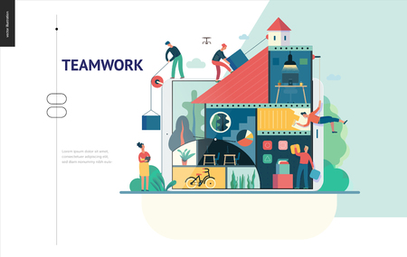 Business series, color 1 -company, teamwork, collaboration -modern flat vector illustration concept of people constructing a company Business workflow management. Creative landing page design template