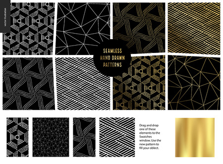 Hand drawn Patterns - a group set of eight abstract seamless patterns - black, gold and white. Geometrical drawings, lines and dots. - black Ilustração