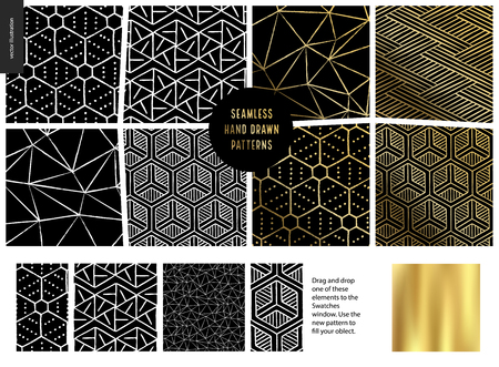 Hand drawn Patterns - a group set of eight abstract seamless patterns - black, gold and white. Geometrical lines and shapes. - black