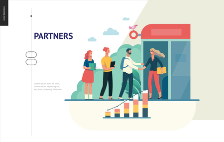 Business series, color 1 - partners -modern flat vector illustration concept of people shaking their hands in the office entrance. Business workflow management. Creative landing page design template Ilustração