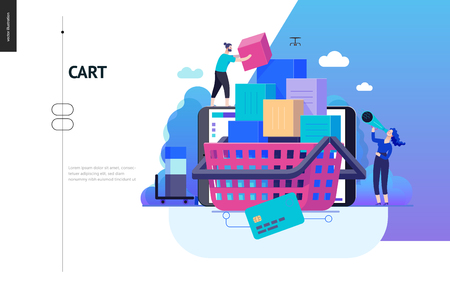 Business series, color 2- cart - modern flat vector illustration concept of online shop - people placing boxes into the cart. Purchase cart and shopping process. Creative landing page design template Ilustração