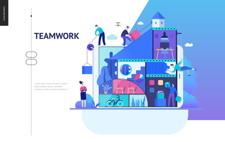 Business series, color 2 -company, teamwork, collaboration -modern flat vector illustration concept of people constructing a company Business workflow management. Creative landing page design template