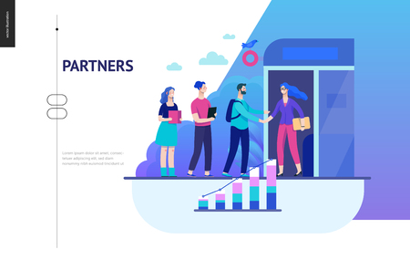 Business series, color 2 - partners -modern flat vector illustration concept of people shaking their hands in the office entrance. Business workflow management. Creative landing page design template Ilustração
