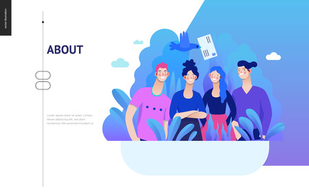 Business series, color 2- about company, contact -modern flat vector concept illustration of a company employees posing together. Business workflow management. Creative landing page design template Ilustração