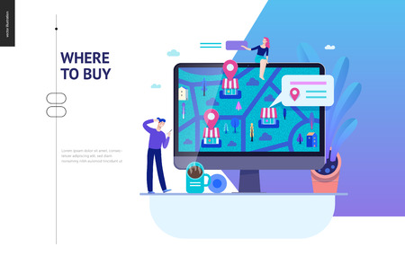 Business series, color 2 - where to buy - modern flat vector concept illustration of map, marked shops, computer screen Selling interaction and purchasing process Creative landing page design template Ilustração