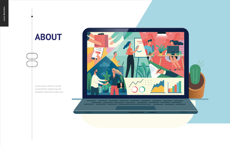 Business series, color 2- about company, office life -modern flat vector concept illustration of a company employees in workspace. Business workflow management. Creative landing page design template Ilustração