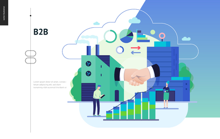 Business series, color 3 - b2b. business to business - modern flat vector illustration concept of b2b - a factory and a corporate buildings shaking their hands. Creative landing page design template