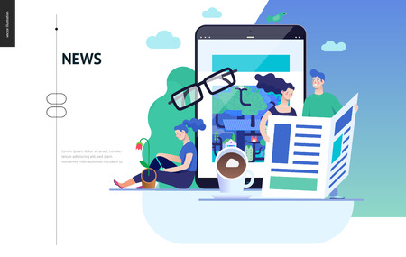 Business series, color 3 - news or articles- modern flat vector illustration concept of people reading news on various medium and tablet screen, glasses, coffee. Creative landing page design template Ilustração