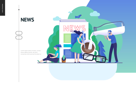 Business series, color 3 -news or articles -modern flat vector illustration concept of people preparing coffee with milk and woman reading news on phone, glasses. Creative landing page design template Ilustração