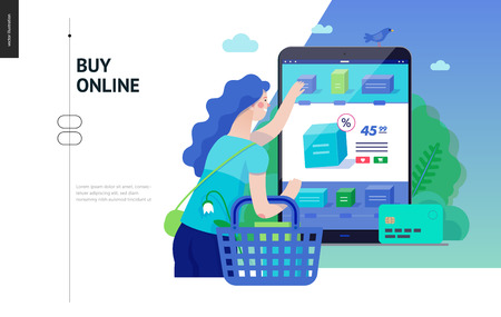 Business series, color 3 -buy online shop -modern flat vector illustration concept of woman shopping online holding basket. Website interaction -purchase process. Creative landing page design template