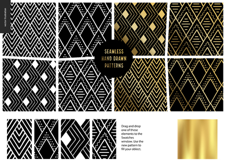 Hand drawn Patterns - a group set of eight abstract seamless patterns - black, gold and white. Geometrical drawings with lines, rubes. - black