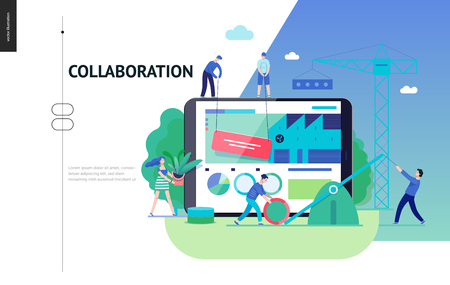 Business series, color 3 -company, teamwork, collaboration -modern flat vector illustration concept of people making web page design Business workflow management. Creative landing page design template