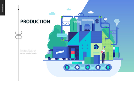 Business series, color 3 - factory production -modern flat vector illustration concept of industrial enterprise. Manufacturing and production interaction process. Creative landing page design template Ilustração