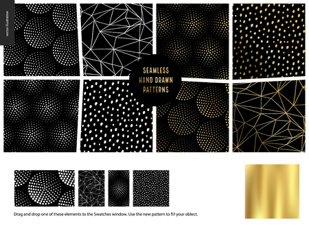 Hand drawn Patterns - a group set of eight abstract seamless patterns - black, gold and white. Geometrical lines, dots and shapes. - black Ilustração