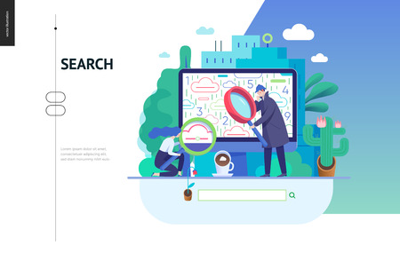 Business series, color 3 - search page - modern flat vector illustration concept of digital data research on computer. Information researching interaction process Creative landing page design template