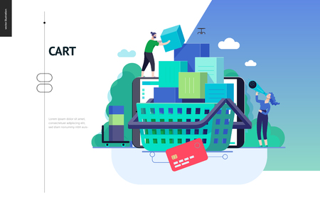 Business series, color 3- cart - modern flat vector illustration concept of online shop - people placing boxes into the cart. Purchase cart and shopping process. Creative landing page design template Ilustração
