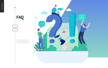 Business, color 3- FAQ -modern flat vector concept illustration of Frequently asked questions People around exclamation and question marks Question answer metaphor Creative web page design template Иллюстрация