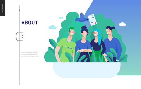 Serie di affari, colore 3 - circa l'azienda, contatto - illustrazione di concetto di vettore piatto moderno dei dipendenti di un'azienda che posano insieme. Gestione del flusso di lavoro aziendale. Modello di progettazione della pagina di destinazione creativa