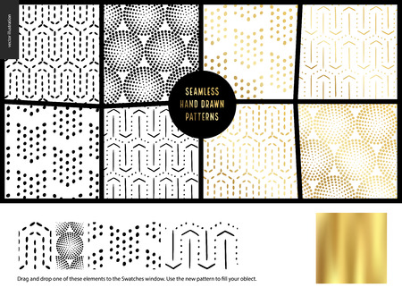 Hand drawn Patterns - a group set of eight abstract seamless patterns - black, gold and white. Dots, lines and shapes - white