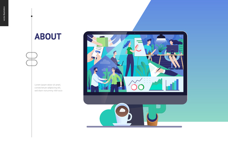 Business series, color 3- about company, office life -modern flat vector concept illustration of a company employees in workspace. Business workflow management. Creative landing page design template Ilustração Vetorial