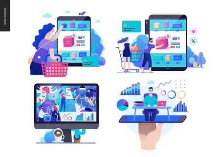 Set di serie aziendali, colore 2 - moderno concetto di vettore piatto argomenti illustrati - acquista negozio online, sulla società - vita in ufficio, esperto online - consulenza. Modello di progettazione della pagina web di destinazione creativa
