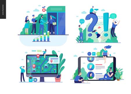 비즈니스 시리즈 세트, 색상 2-현대 평면 벡터 개념은 주제 -b2b 파트너십, 질문 및 답변 FAQ, 구매처 -위치, 포럼 리뷰를 보여줍니다. 크리에이 티브 방문 웹 페이지 디자인 서식 파일