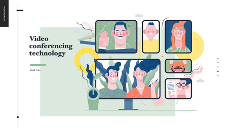 Technology 1 -Video conferencing technology - modern flat vector concept digital illustration video conference metphor, digital communication. Creative landing web page design template