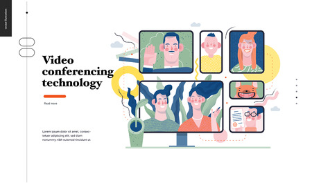 Technology 1 -Video conferencing technology - modern flat vector concept digital illustration video conference metaphor, digital communication. Creative landing web page design template