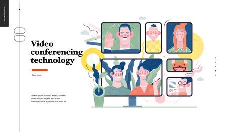 Technologie 1 - Videokonferenztechnologie - modernes flaches Vektorkonzept digitale Illustrationsvideokonferenzmetapher, digitale Kommunikation. Designvorlage für kreative Landing-Webseiten