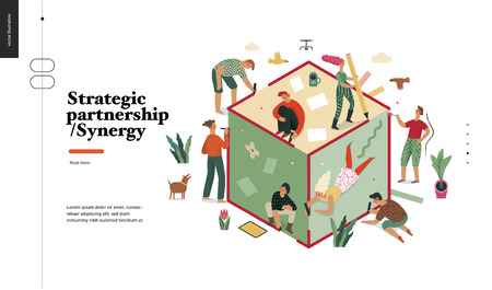 Technology 2 -Strategic Partership - Synergy flat vector concept digital illustration partnership and synergy metaphor. Business workflow and team management Creative landing web page design template Illustration