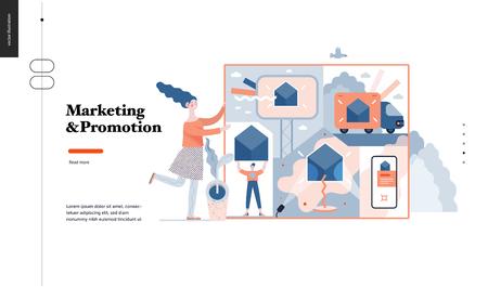Technologie 3 - Marketing und Promotion modernes flaches Vektorkonzept digitale Illustrationsmarketingmetapher, Firmenmarkenförderung. Business Workflow Management Kreative Designvorlage für Landing-Webseiten