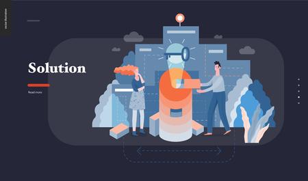 Tecnología 3 - Solución - Ilustración digital del concepto moderno vector plano Problema Solución Metáfora, abstracta. Gestión del flujo de trabajo empresarial. Plantilla de diseño de página web de aterrizaje creativa Ilustración de vector