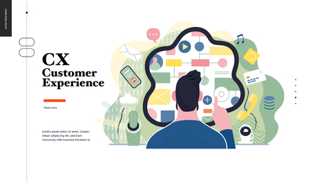 Technology 1 -CX customer experience - modern flat vector concept digital illustration of user or customer experience, a user in front of interface. Creative landing web page design template Vectores