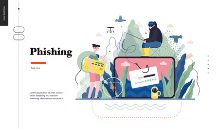 Technology 1 - Phishing - flat vector concept digital illustration of phishing scam metaphor. Hacker fraud protection, password steal, data phishing. Creative landing web page design template