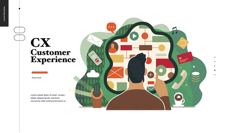 Technology 2-CX customer experience - modern flat vector concept digital illustration of user or customer experience, a user in front of interface. Creative landing web page design template