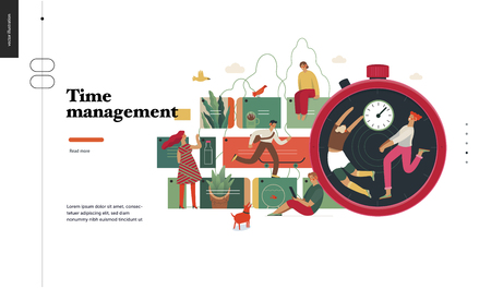 Technology 2 -Time management - modern flat vector concept digital illustration of time management metaphor, a stopwatch, timeline and people in workflow. Creative landing web page design template Illusztráció
