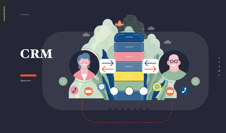 Technology 1 - CRM Customer Relationship Management - modern flat vector concept digital illustration of data collecting from user and providing result data. Creative landing web page design template