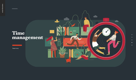 Technology 2 -Time management - modern flat vector concept digital illustration of time management metaphor, a stopwatch, timeline and people in workflow. Creative landing web page design template Illustration