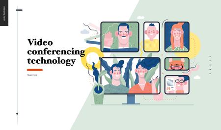 Technology 1 -Video conferencing technology - modern flat vector concept digital illustration video conference metaphor, digital communication. Creative landing web page design template