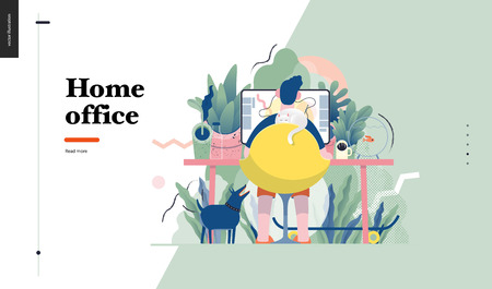 Technology 1 -Home Office - modern flat vector concept digital illustration home office metaphor, a freelancer guy working at home with pets and plants. Creative landing web page design template Illustration
