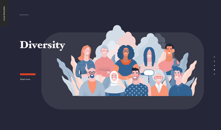 Technology 3 - Diversity - modern flat vector concept digital illustration of various people presenting person team diversity in the company. Creative landing web page design template 일러스트