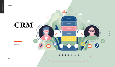 Technology 1 - CRM Customer Relationship Management - modern flat vector concept digital illustration of data collecting from user and providing result data. Creative landing web page design template Vetores