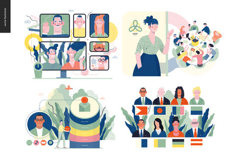 Technology 1 set - modern flat vector concept digital illustration- Video Conferencing Technology, Meet our team, CRM Customer Relationship Management, Political leaders meeting. Creative web template Stockfoto - 124348425