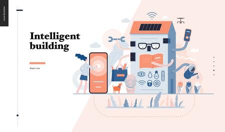 Technologie 3-Intelligentes Gebäude, digitale Illustration des modernen flachen Vektorkonzepts Intelligentes Haus und Managementmetapher - Frau und Gebäude, die Probleme lösen. Designvorlage für kreative Landing-Webseiten