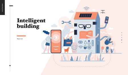 Technology 3-Intelligent building, modern flat vector concept digital illustration Smart house and management metaphor -woman and building resolving problems. Creative landing web page design template