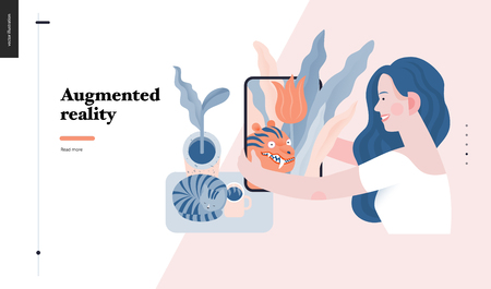 Technology 3 -Augmented reality, modern flat vector concept digital illustration -augmented reality metaphor -woman with tablet. Creative landing web page design template Ilustrace